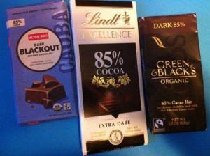 Blackout, Lindt 85%, Green and Black's